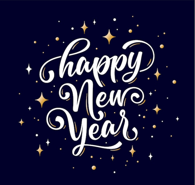 Lettering text for happy new year or merry christmas