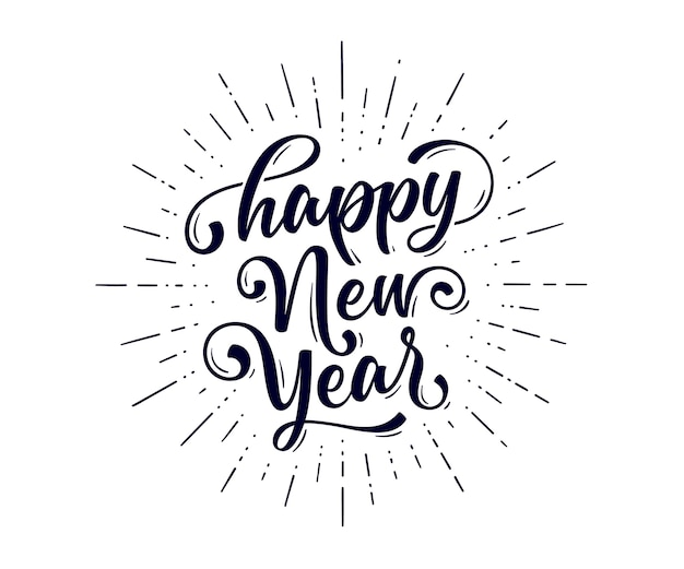 Lettering text for happy new year