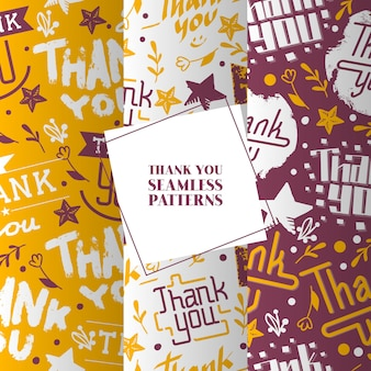 Lettering thank you set of seamless patterns. beautiful calligraphy text words with colorful flowers, smiles, stars.