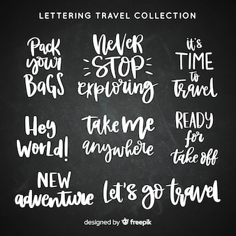 Lettering travel badges collection