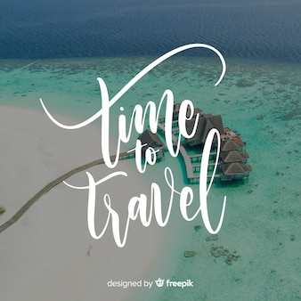 Lettering travel with photo