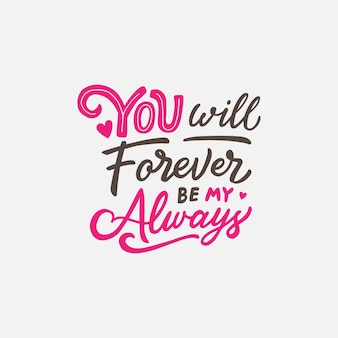 Lettering / typography design with love quote