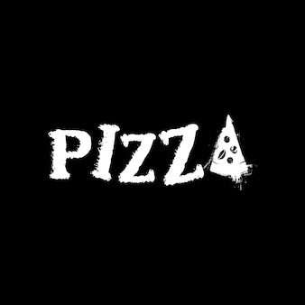 Lettering typography of pizza logo design