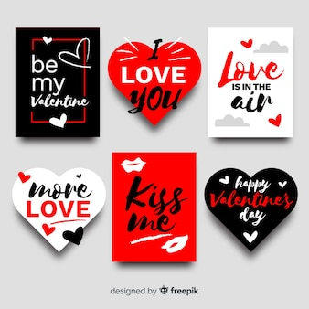 Lettering valentine badge collection
