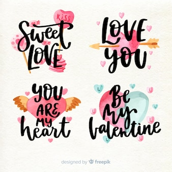 Lettering valentine badge pack