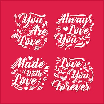 Lettering valentine day collection