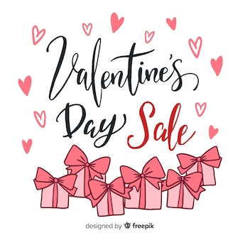 Lettering valentine's day sale background