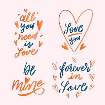 Lettering valentines day badge collection