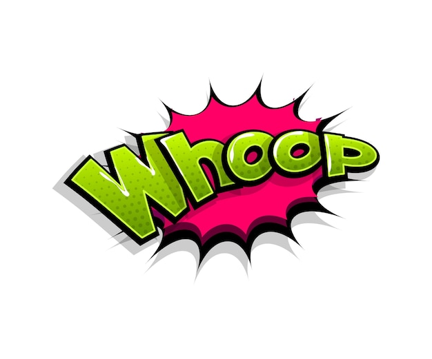 Lettering whop, whoop, wow. comic text logo speech bubble