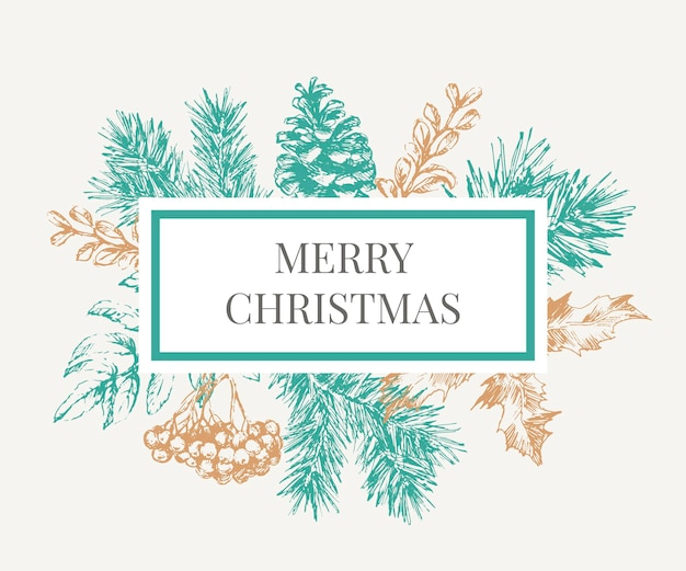 Lettering with christmas frame with branches of christmas tree