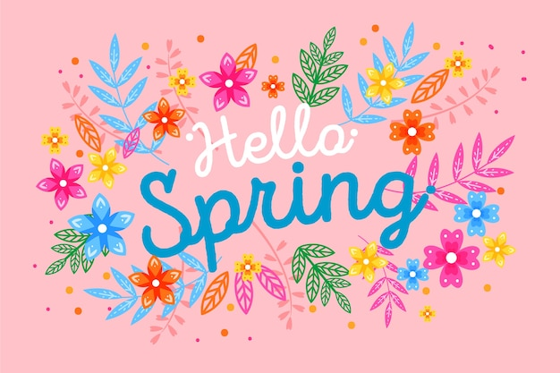 Lettering with colorful decoration for spring