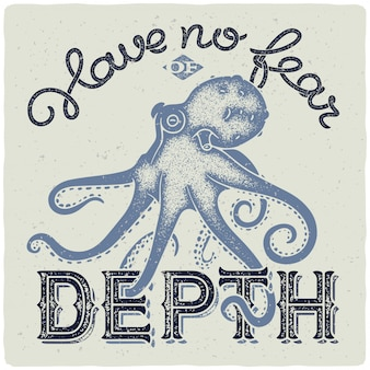 Lettering with octopus illustration