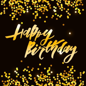 Lettering with phrase happy birthday. vector illustration. gold
