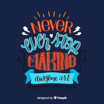 Lettering with quote for creativity