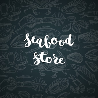 메뉴 그림 해산물 가게 또는 시장 글자