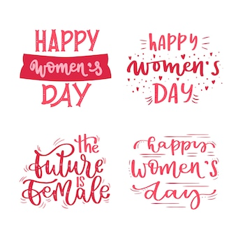 Lettering women's day label/badge collection