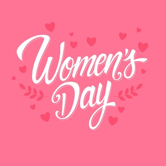 Lettering women's day with hearts