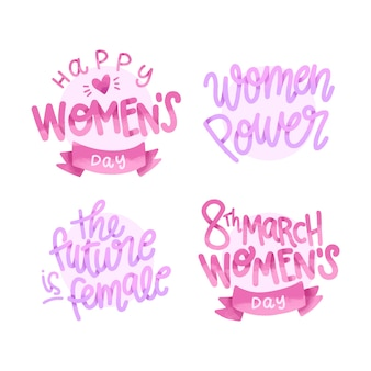 Lettering womens day badge collection