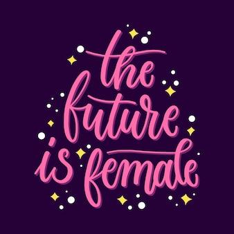 女性の日の概念をレタリング