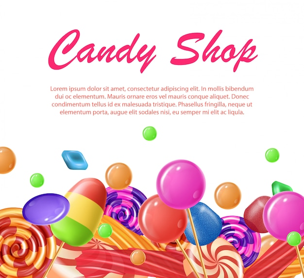 Lettering written candy shop banner landing page.