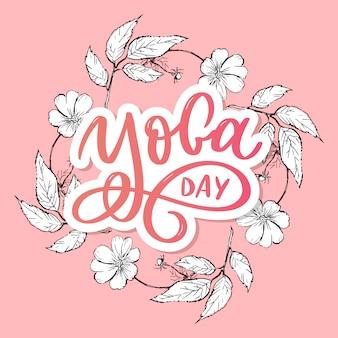 Lettering yoga. background international yoga day. yoga typography.