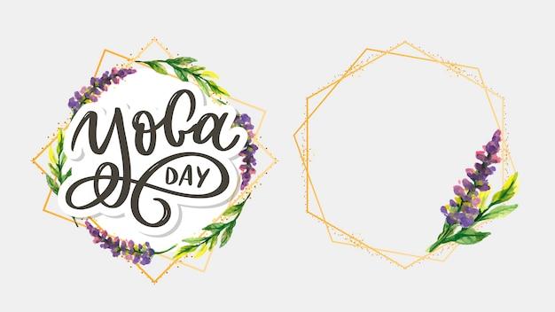 Lettering yoga international yoga day with frame set