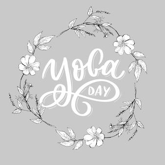 Lettering yoga. international yoga day.