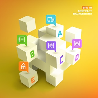 Letters at 3d white cubes and colorful business pointers in abstract background