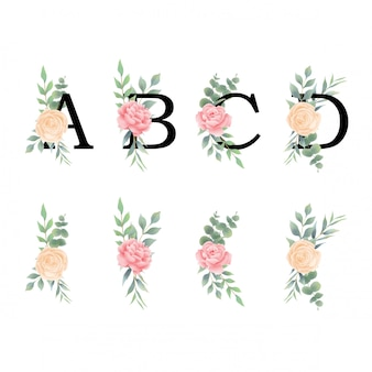 Letters of the alphabet with decorations of roses and leaves in a watercolor style