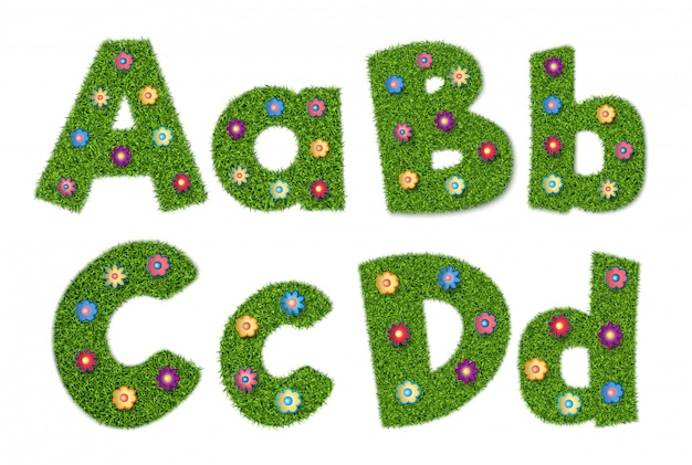 Letters of the alphabet with grass texture and flowers