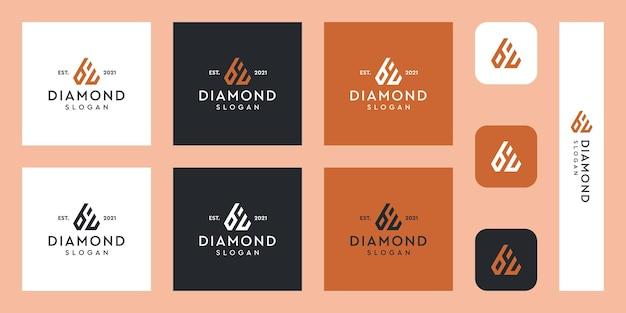 추상 다이아몬드 모양의 문자 b 및 u 모노그램 로고 프리미엄 벡터
