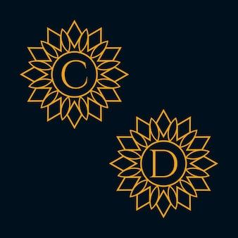 편지 c와 d 디자인 벡터