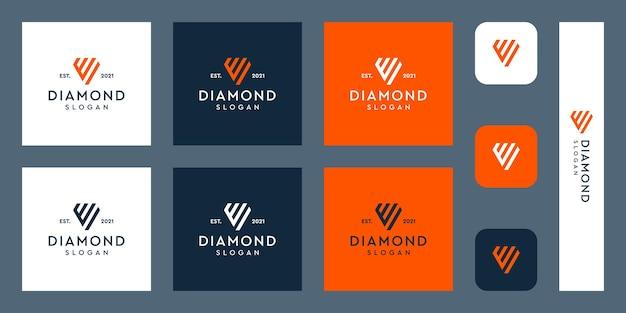 文字eモノグラムロゴと抽象的なダイヤモンドの形プレミアムベクトル