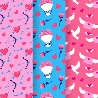 Letters and flowers valentine seamless pattern