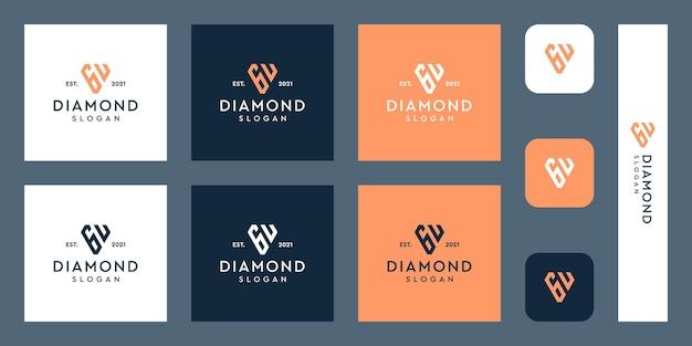 文字gとuのモノグラムロゴと抽象的なダイヤモンドの形プレミアムベクトル