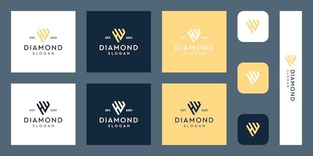文字hとwのモノグラムロゴと抽象的なダイヤモンドの形プレミアムベクトル
