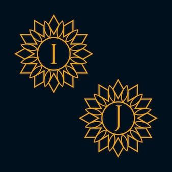 文字iとjのデザインベクトル