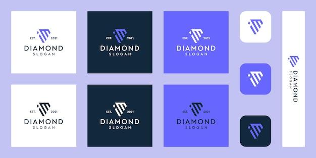 추상 다이아몬드 모양의 문자 i 및 m 모노그램 로고 프리미엄 벡터
