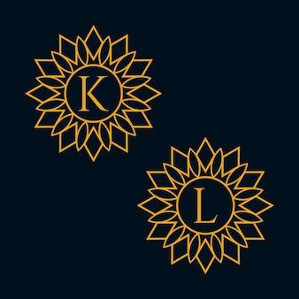 편지 k와 l 디자인 벡터