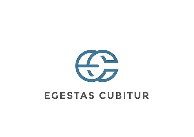 Letters ligature e c logo  . linear style