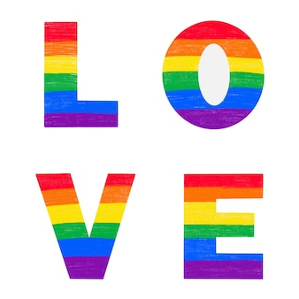 Letters love colored in rainbow lgbtq gay pride flag colors. vector lettering for lgbt history month pencil crayon textured isolated. love is love concept