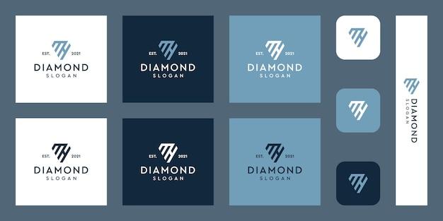 文字mとhのモノグラムロゴと抽象的なダイヤモンドの形プレミアムベクトル