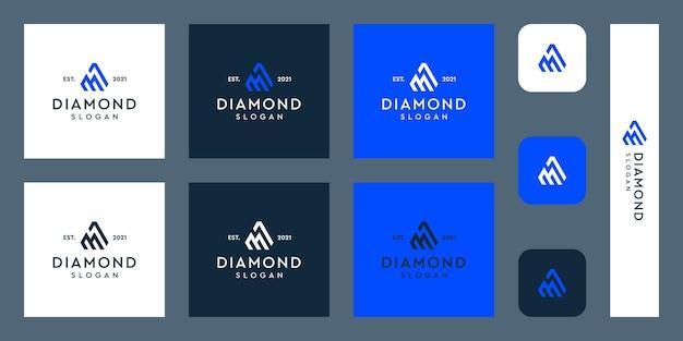 文字mモノグラムロゴと抽象的なダイヤモンドの形プレミアムベクトル