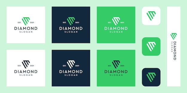 Letters m monogram logo with abstract diamond shapes premium vectors