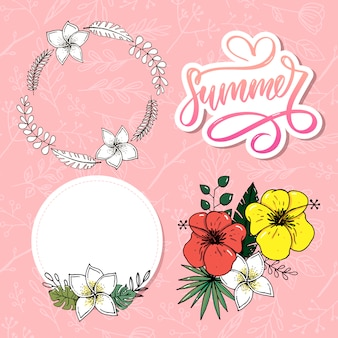 Letters made of flowers and leaves summer sale holiday
