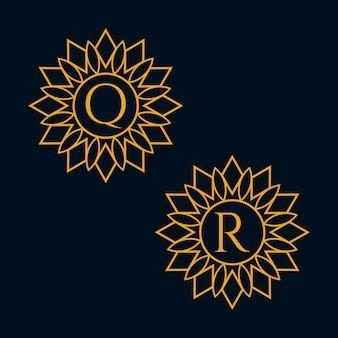 文字qとrのデザインベクトル