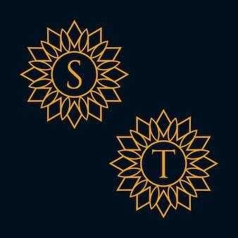 文字sとtのデザインベクトル