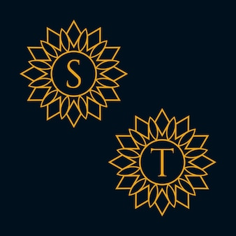 Letters s and t design vector