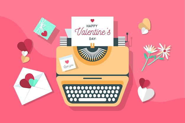 Letters and typewriter machine valentine's day background