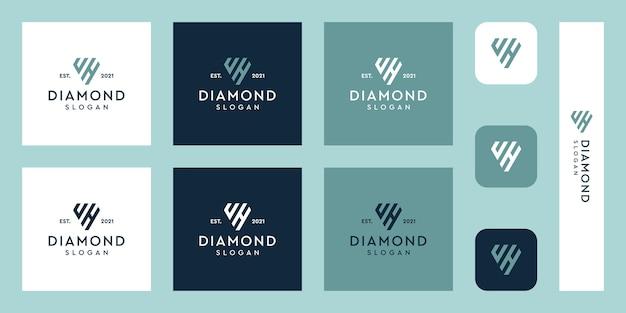 文字uとhのモノグラムロゴと抽象的なダイヤモンドの形プレミアムベクトル